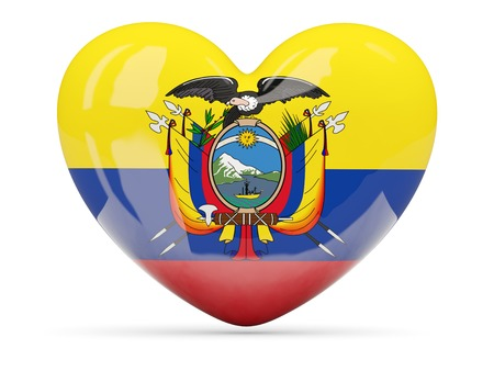 Heart shaped icon with flag of ecuador isolated on white