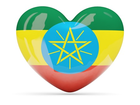 Heart shaped icon with flag of ethiopia isolated on white photo