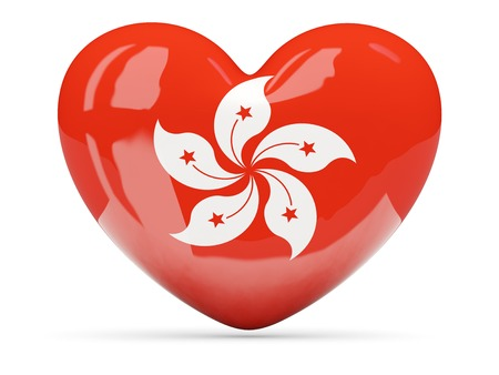 Heart shaped icon with flag of hong kong isolated on white photo
