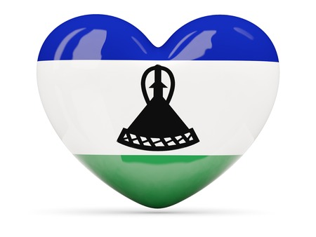 lesotho: Heart shaped icon with flag of lesotho isolated on white