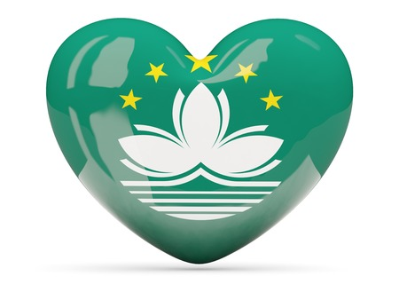 macao: Heart shaped icon with flag of macao isolated on white