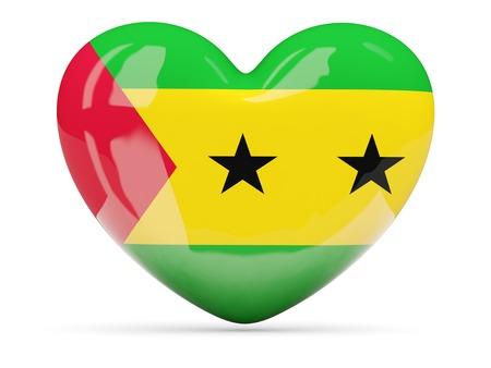 principe: Icono en forma de corazón con la bandera de Santo Tomé y Príncipe aislado en blanco Foto de archivo