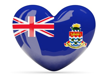 cayman islands: Heart shaped icon with flag of cayman islands isolated on white Stock Photo
