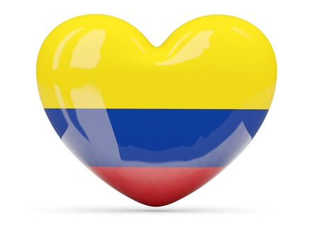 Heart shaped icon with flag of colombia isolated on white photo