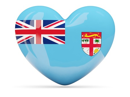 fiji: Heart shaped icon with flag of fiji isolated on white Stock Photo