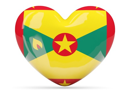 grenada: Heart shaped icon with flag of grenada isolated on white