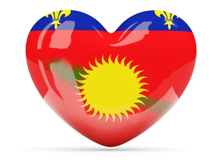 guadeloupe: Heart shaped icon with flag of guadeloupe isolated on white