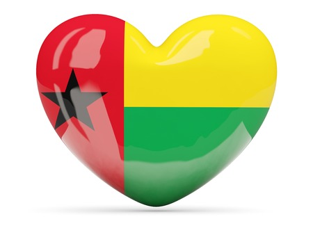 guinea bissau: Heart shaped icon with flag of guinea bissau isolated on white