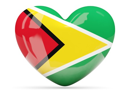 guyana: Heart shaped icon with flag of guyana isolated on white Stock Photo