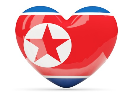 Heart shaped icon with flag of north korea isolated on white photo