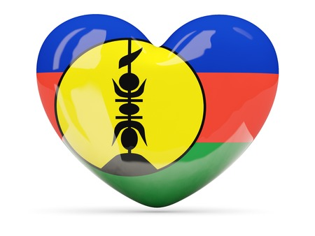 new caledonia: Heart shaped icon with flag of new caledonia isolated on white