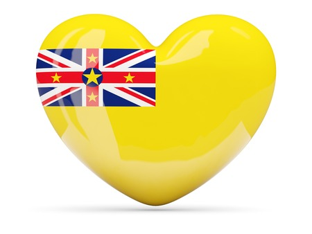 niue: Heart shaped icon with flag of niue isolated on white Stock Photo