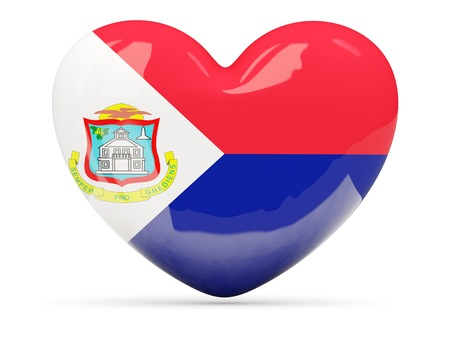 sint: Heart shaped icon with flag of sint maarten isolated on white