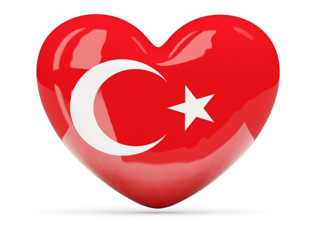 glossy icon: Heart shaped icon with flag of turkey isolated on white