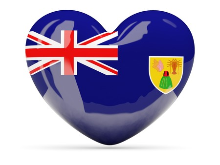 the turks: Heart shaped icon with flag of turks and caicos islands isolated on white