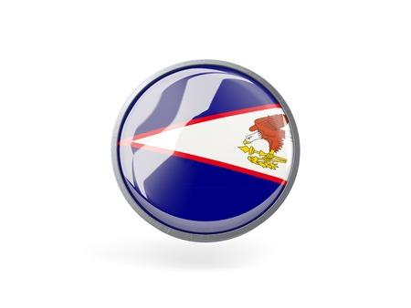 samoa: Metal framed round icon with flag of american samoa