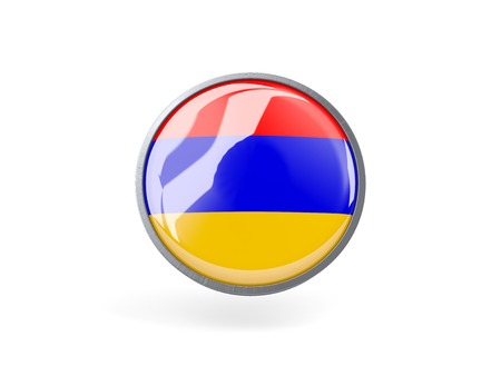 Metal framed round icon with flag of armenia photo