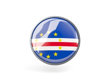 cape verde: Metal framed round icon with flag of cape verde