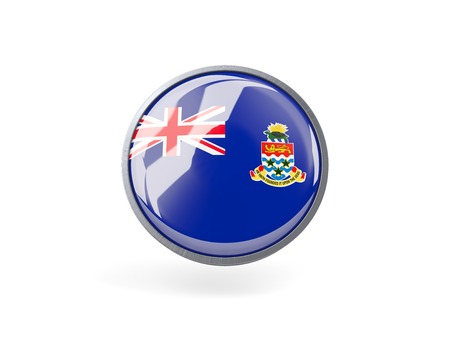 cayman islands: Metal framed round icon with flag of cayman islands Stock Photo