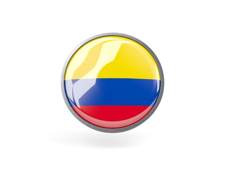 Metal framed round icon with flag of colombia photo