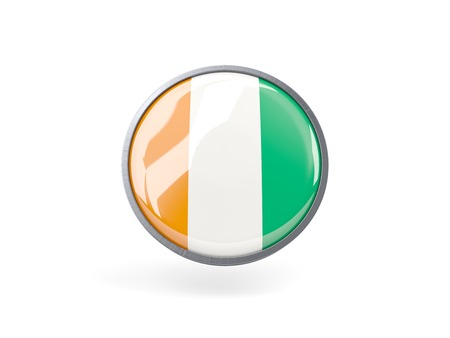cote ivoire: Metal framed round icon with flag of cote d Ivoire
