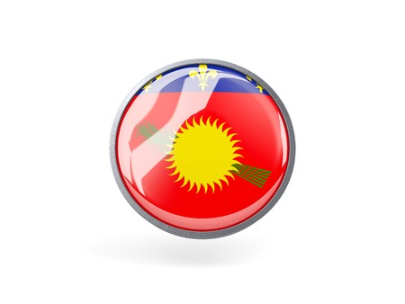 guadeloupe: Metal framed round icon with flag of guadeloupe