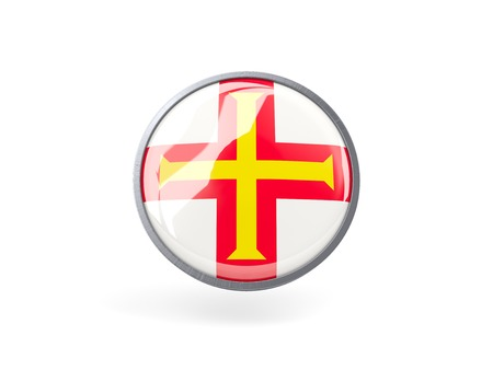 guernsey: Metal framed round icon with flag of guernsey Stock Photo