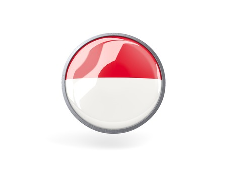 Metal framed round icon with flag of monaco photo