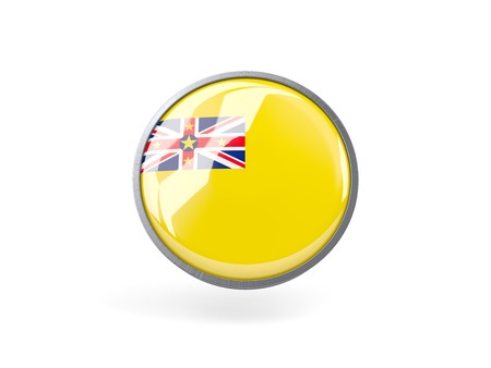 niue: Metal framed round icon with flag of niue
