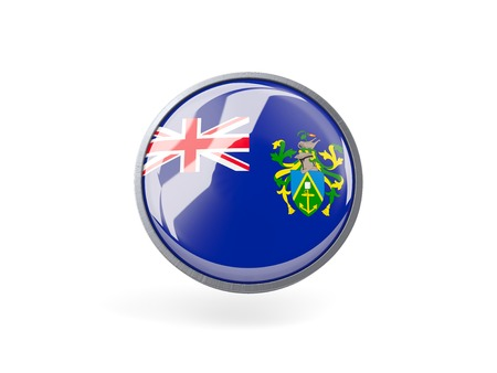 pitcairn: Metal framed round icon with flag of pitcairn islands