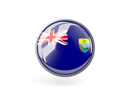 helena: Metal framed round icon with flag of saint helena