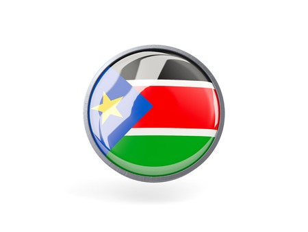 south sudan: Metal framed round icon with flag of south sudan