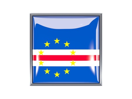 cape verde flag: Metal framed square icon with flag of cape verde Stock Photo