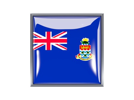 cayman islands: Metal framed square icon with flag of cayman islands