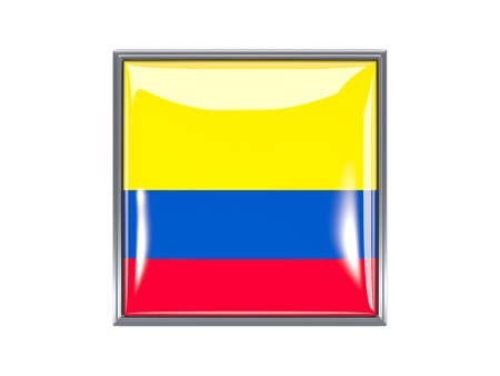 Metal framed square icon with flag of colombia photo