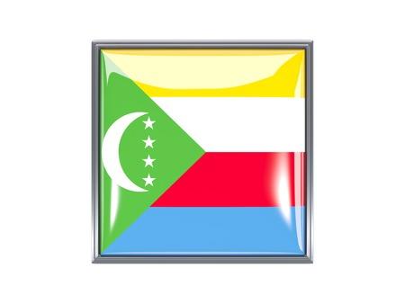 comoros: Metal framed square icon with flag of comoros