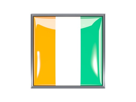 cote ivoire: Metal framed square icon with flag of cote d Ivoire