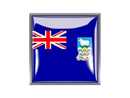 falkland: Metal framed square icon with flag of falkland islands Stock Photo