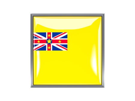 niue: Metal framed square icon with flag of niue