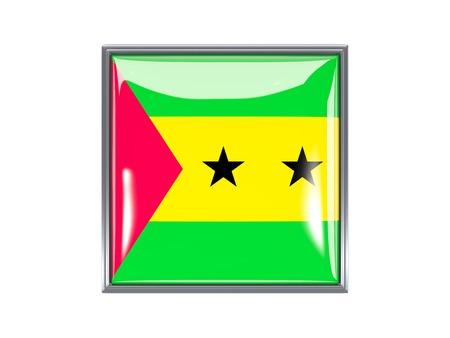 principe: Metal enmarcado icono cuadrado con la bandera de Santo Tom� y Pr�ncipe