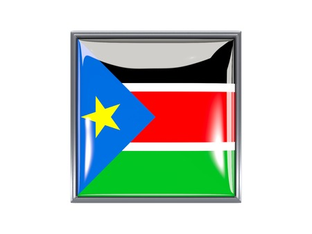 south sudan: Metal framed square icon with flag of south sudan Stock Photo