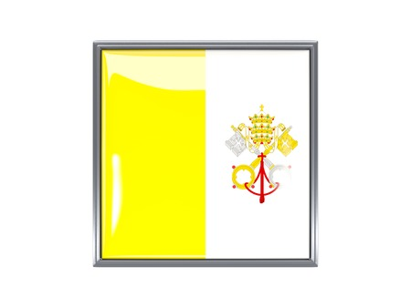 vatican city: Metal framed square icon with flag of vatican city