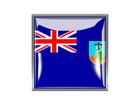 montserrat: Metal framed square icon with flag of montserrat Stock Photo