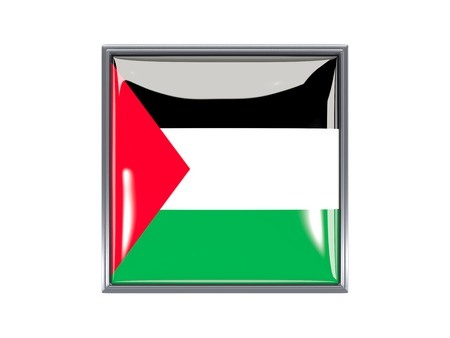 palestinian: Metal framed square icon with flag of palestinian territory