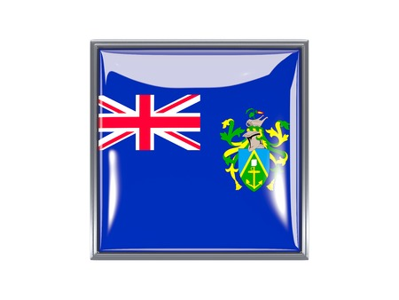 pitcairn: Metal framed square icon with flag of pitcairn islands Stock Photo