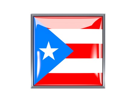 rico: Metal framed square icon with flag of puerto rico