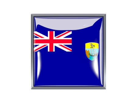 helena: Metal framed square icon with flag of saint helena Stock Photo