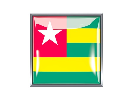 Metal framed square icon with flag of togo photo