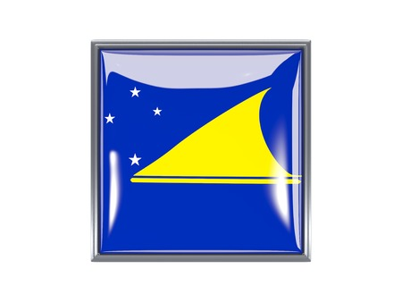 tokelau: Metal framed square icon with flag of tokelau
