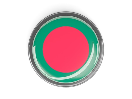 Metal framed round button with flag of bangladesh photo